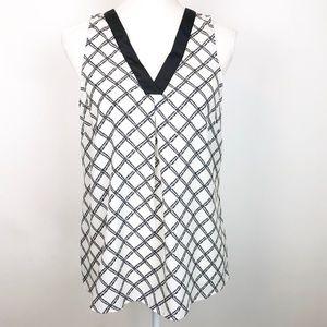 Cynthia Rowley Sleeveless Black White Print Blouse